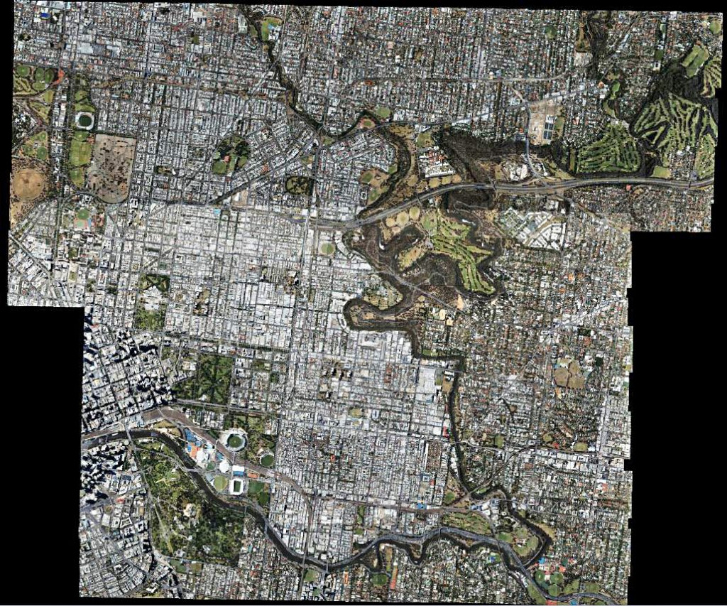 Showing extent of aerial photography