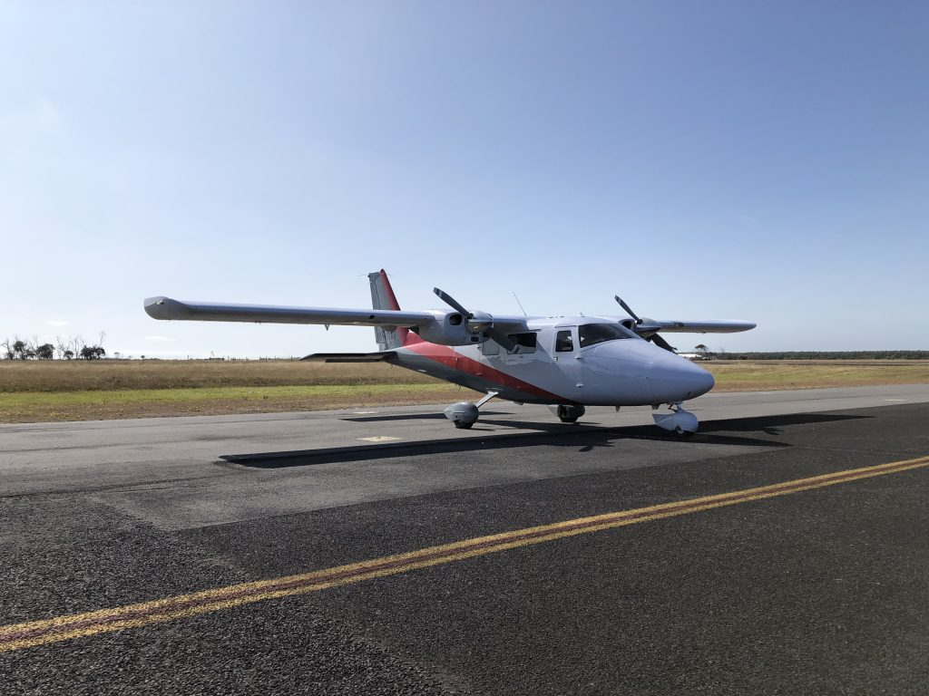 Aerial survey aircraft getting ready for take off